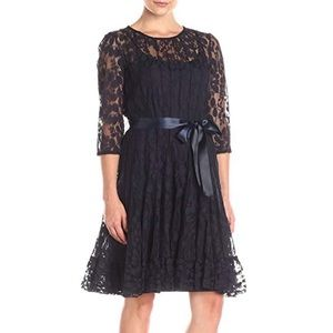 MSK Illusion Floral Lace Dress in Navy sz 14 NWT